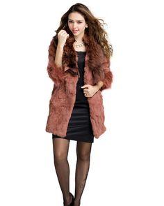 New Style Women Collar Cardigan Long Sleeve Slim Rabbit Faux Fur Overcoat