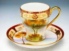Old Noritake Antique Tea Cups, Antique Dishes, Vintage Cups, Vintage Tea, Coffee Cups And Saucers, Teapots And Cups, Tea Cup Saucer, Turkish Coffee Cups, Mugs