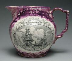 Bainbridge Constitution and The Java 1797 Pink Lusterware Sunderland Pitcher Jug
