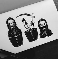 Page Reaper matryoshka 💀 . Amazing Drawings, Cool Drawings, Halloween Illustration, Illustration Art, Vexx Art, Trippy Drawings, Sweet Tattoos, Art Desk, Sharpie Art