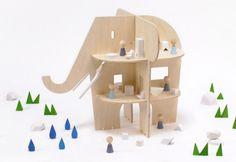 apple dollhouse, elephant dollhouse, ele villaeco friendly dollhouse,flat pack dollhouse,green doll house,pear dollhouse,rock & pebble,unique dollhouse,wooden dollhouse,wooden waldorf dollhouse