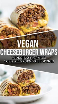 Vegan Cheeseburger Wraps Tasty Vegetarian Recipes, Vegan Dinner Recipes, Veggie Recipes, Whole Food Recipes, Cooking Recipes, Yummy Vegan Food, Quick Vegan Recipes, Vegan Sandwich Recipes, Vegetarian Wraps