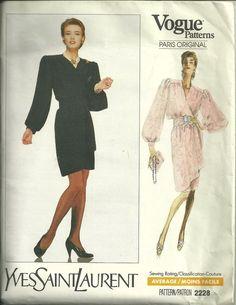 379ceb47d2 Vogue 2228 Designer Yves Saint Laurent Size 8 Wrap Dress Pattern Uncut  1980s OOP  VoguePatterns