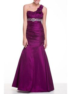 Mermaid One Shoulder Floor Length Evening Dress With Ruffle Beading