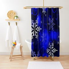 """Royal Blue Snowflake Motif"" Shower Curtain by HavenDesign 