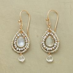 """BLANCO EARRINGS--Cultured seed pearls border rare white labradorites, stunning moorings for shimmering white topaz gems drifting below. 14kt goldfill French wires. Exclusive. Handcrafted in USA. 1-1/2""""L."""