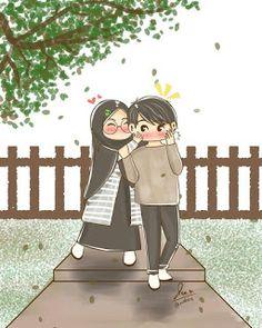 Drawing - - cute couple cartoon, love is cartoon, girl cartoon, glitter background Love Is Cartoon, Cute Couple Cartoon, Cute Couple Art, Cute Love Cartoons, Girl Cartoon, Cartoon Art, Hijab Anime, Muslim Pictures, Hijab Drawing