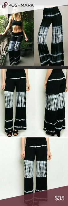 Tie dye wide pants Super comfy and soft wide pants/ plazzo pants/ gaucho pants/ Boho pants.   Black white tie dye pattern.  Really soft and a lot of stretch.   96% rayon 4% spandex  FREE SHIPPING ON BUNDLES!! preppybohemian  Pants Wide Leg