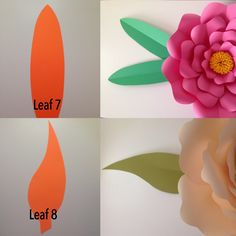 Paper Flower Patterns, Paper Flowers Craft, Paper Flower Backdrop, Flower Crafts, Diy Flowers, Paper Crafts, Diy Paper, Flower Petal Template, Leaf Template