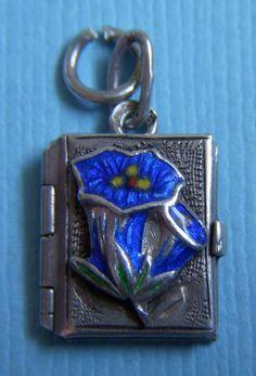 Vintage enamel gentian flowers book locket opens silver charm