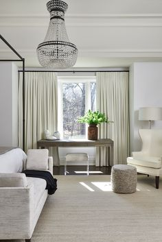 White Neutral Bedroom with Seating | Elton Park | Ali Budd Interiors