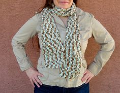 Long Icy Pond Scarf for Women or Men - A Variegated White, Brown, Blue Scarf - Crochet Scarf - Hoooked Scarves - Ready To Ship by HoookedHandmade