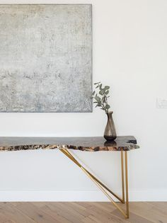 Live edge burl wood console table