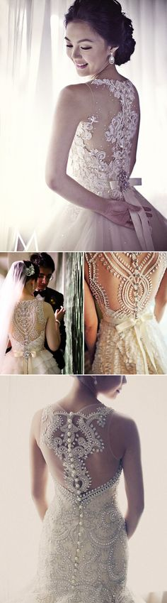 38 Stunning Lace Back Wedding Dresses - Veluz Reyes.