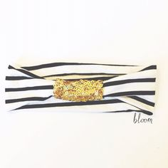 Stripe head wrap - black white and gold - wide stretch headband with sequins knot  on Etsy, $12.50