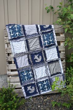Custom Nautical Crib Bedding for Baby Boys Nursery in Grey, and Navy Blue with applique anchors Also available: car seat canopy, bumpers, sheet, crib rail cover, crib skirt Bumper Care: wipe clean. If