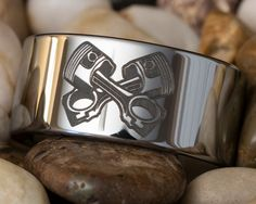Tungsten Carbide Band 12mm Pipe Mechanic by FANaticCreations, $49.00