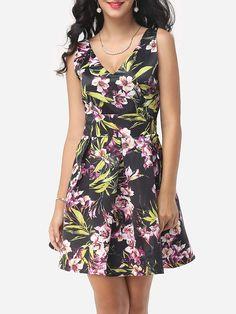 Floral Printed Backless Chic Deep V Neck Skater-dress