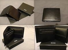 HUGO BOSS 'AREZZO' MENS TRIFOLD BLACK LEATHER WALLET