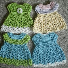Doll Dresses - for preemie baby but could use for potholder - free with Ravelry login