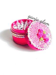 Herb Grinder Pink  Bling Crystal RhinestonePearl Rose by GanjaGlam