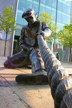 The Linesman sculpture on the River Liffey in Dublin, Ireland.