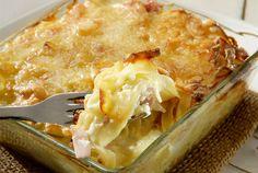 Ταλιατέλες ογκρατέν µε ζαµπόν και τυρί