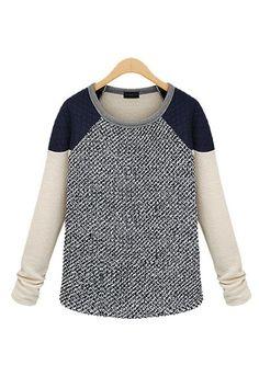 Color Block Raglan Quilted Neoprene Shoulder Grey Marble Knit Sweater