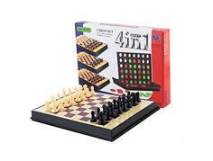 AOQING Chess Set 4 in 1 Magnetic Multipurpose Functional Recycle Material Chess Board Game ( Medium) -- Want to know more, click on the image.
