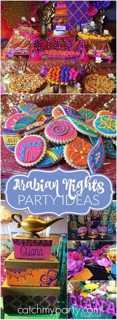 Love this stunning Arabian Nights girl birthday party! See more party ideas at… Festa Tema Arabian Nights, Arabian Nights Prom, Arabian Theme, Arabian Party, Arabian Nights Theme Party, Henna Party, Aladdin Party, Aladdin Birthday Party, Girls Birthday Parties