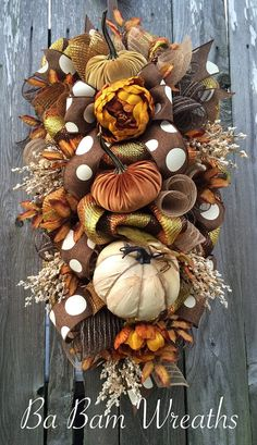 Fall Swag, Autumn Swag, Deluxe Fall Wreath, Fall Wreath, Fall Decor, Autumn Wreath, Autumn Decor, Halloween Wreath  Make your door/wall or entry and inviting welcome to the warm colors of Autumn. A Stunning Fall beauty, each material used to create this head turner is rich in fine details! A rustic mix of brown, burnt orange, mustard yellow, burlap and copper makes such an inviting statement for Fall! Made on a wired pine frame and filled with a gorgeous assortment of burlaps, rich stripped…