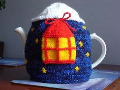❥Knit & Crochet Tea Cosies, Mug Hug Snugs and Cuppa Cosies.   Crafty Conundrum: More Teacosies...Bright Lantern......based on pattern from Laughing Hens