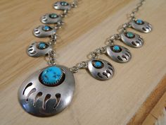 Sterling Silver Turquoise Bear Claw Squash Blossom Style Necklace / Vintage Native American Indian Necklace / Turquoise Shadowbox Bear Claw by VintageBaublesnBits on Etsy Bear Claw Necklace, Indian Necklace, Bear Claws, Squash Blossom Necklace, Vintage Turquoise, Try On, Native American Jewelry, Crystal Jewelry, Gold Jewellery
