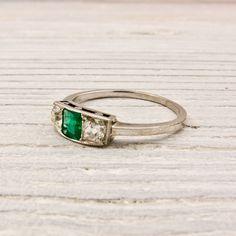 Vintage Platinum, Diamond & Emerald Ring, Circa 1925