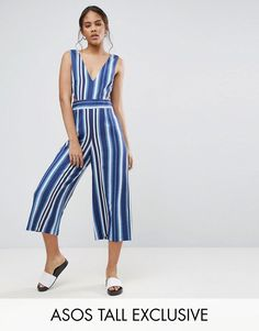 Get this Asos Tall's long jumpsuit now! Click for more details. Worldwide shipping. ASOS TALL Cut Out Side Jumpsuit In Stripe - Multi: Tall jumpsuit by ASOS TALL, Woven fabric, Striped design, V-neck, Cut-out waist details, Wide-cut leg, Open back, Zip-back fastening, Regular fit - true to size, Machine wash, 86% Polyester, 14% Viscose, Our model wears a UK 8/EU 36/US 4 and is 180cm/5'11 tall. Find fresh wardrobe wins with our ASOS TALL edit. Raise your sunrise-till-sunset game with occasion…