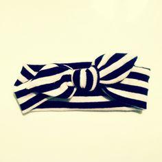 NEW Knit Tie Retro Vintage Wrap Headband Black and White Stripes - Baby - Girls - Toddler - Newborn - Infant. $11.95, via Etsy.