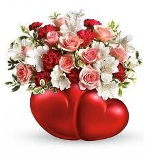 Twin Hearts Bouquet, Flower Bouquets: Surprise all your Valentines with this doubly heartfelt gift. Bright flowers in a vase featuring not one, but two Bright Flowers, Love Flowers, Beautiful Flowers, Flowers Online, Wine Gifts, Flower Delivery, Happy Valentines Day, Red Roses, Floral Arrangements