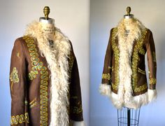 Vintage Embroidered Shearling Jacket Size Small by Hookedonhoney, $525.00