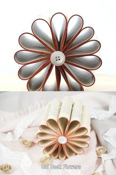 Transform and old book into this gorgeous rustic flower decoration to use as a centerpiece or hang on the ceiling for a fun addition to your home decor! Easy Paper Crafts, Crafts To Make, Arts And Crafts, Diy Crafts, Flower Centerpieces, Flower Decorations, Book Page Crafts, Old Book Pages, Rustic Flowers