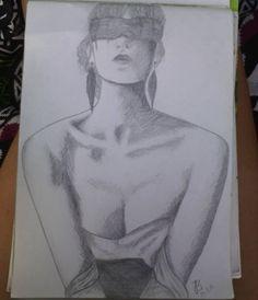 #art #artlovers #instaart #pencil #drawing #draw #grey #blackandwhite #collarbones #shadow #shadows #earrings #blind #artist #woman #chest