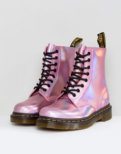 Buy Dr Martens Leather Holographic Pink Lace Up Boots at ASOS. Get the latest trends with ASOS now. Dr. Martens, Doc Martens Stiefel, Doc Martens Boots, Holographic Boots, Leather Lace Up Boots, Laced Boots, Pink Leather, Combat Boots, Vestidos