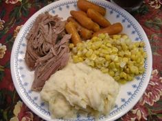Slow Cooked Pork Roast - my absolute favorite!!!  I used 2 cans of cream of mushroom with roasted garlic and I also add diced red potatoes and onions along with the carrots.  Makes lots of servings!!!