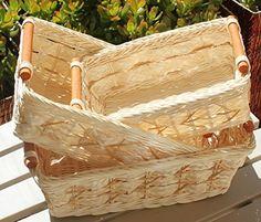 Rectangular Wicker/Rattan Bread or Storage Baskets in Cream with Pole Handles Basket Shelves, Storage Baskets, Gift Baskets, Easter Baskets, Laundry Basket, Wicker Baskets, Rattan, Hand Weaving, Container