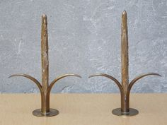 I Like Mike's Mid Century Modern - PAIR YSTAD METALL BRASS LILY SWEDISH CANDLE STICK HOLDERS