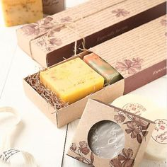 """Gift Boxes Soap Boxes Gift Packaging FLOWER2 Kraft Paper Boxes W6 7""""XL3 5""""XH1 4"""" 