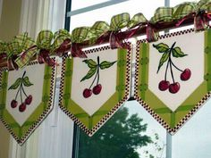 Ready-Made Valances for a Country Cottage Kitchen. Heather Lane Pottery- You can order these cute Valances in almost in any Fruit or Flower. Kitchen Window Treatments, Custom Window Treatments, Kitchen Curtains, Drapes Curtains, Drapery, Pelmets, Custom Windows, Curtain Designs, Curtain Styles