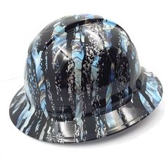 Top Notch Designs, Best Workmanship in badass hard hats. Many Hydrographic Hard Hats available in different themes. Hard Hats, Bad To The Bone, Blue Camo, Cover Design, Safety, Canada, Free Shipping, Security Guard, Helmets