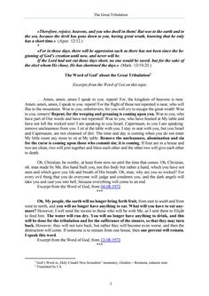 The Word of God about the Great Tribulation