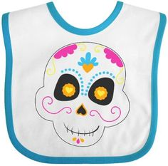 Inktastic Sugar Skull Pink Baby Bib Cute Day Of The Dead Party Celebration Book Life Halloween Mexico Hispanic Goth Gift Clothing Infant, Blue