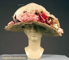 LARGE BRIM WHITE LACE HAT, c. 1910